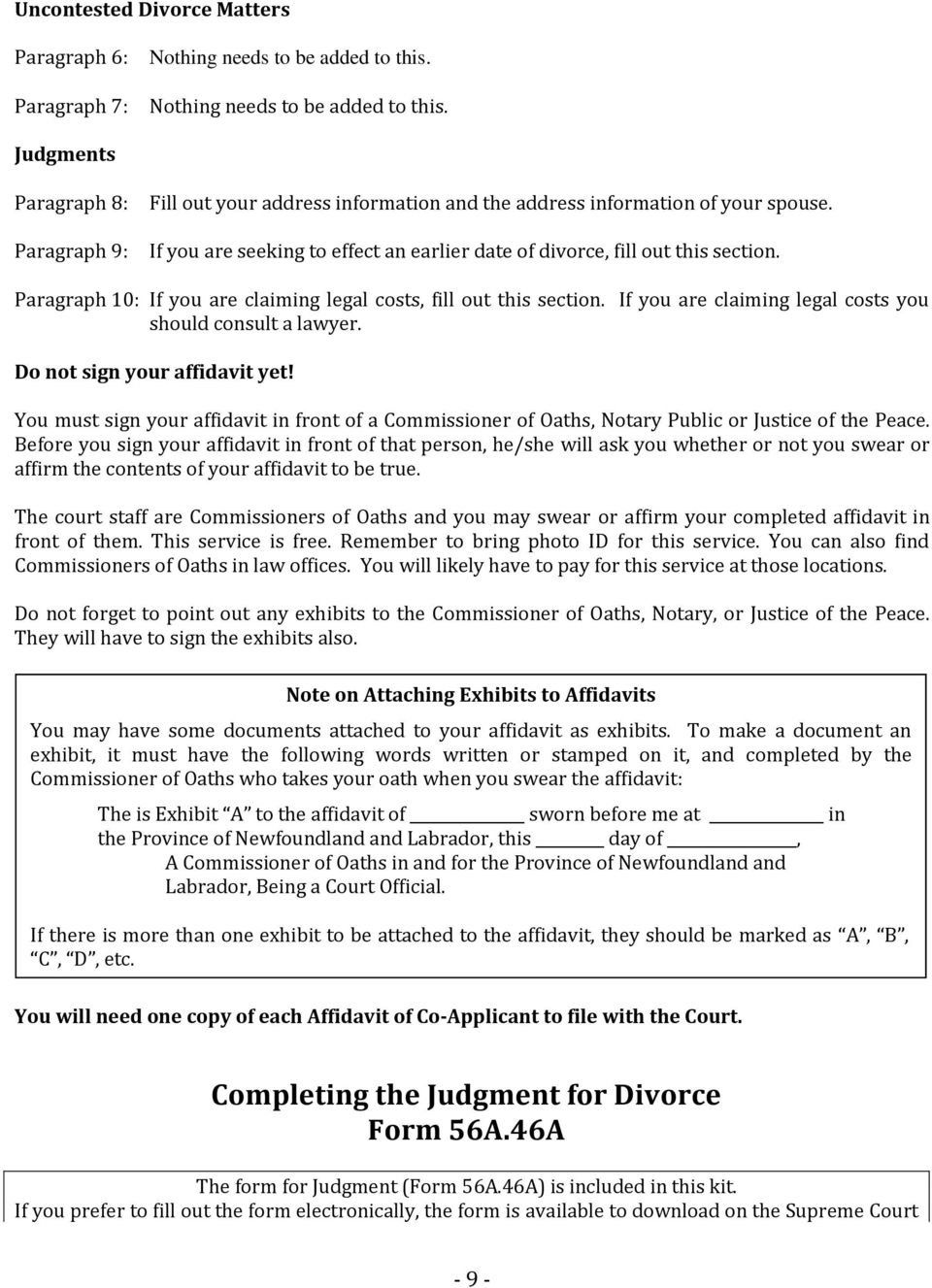 Joint or co applicant uncontested divorce self help kit pdf if you are seeking to effect an earlier date of divorce fill out this section solutioingenieria Choice Image