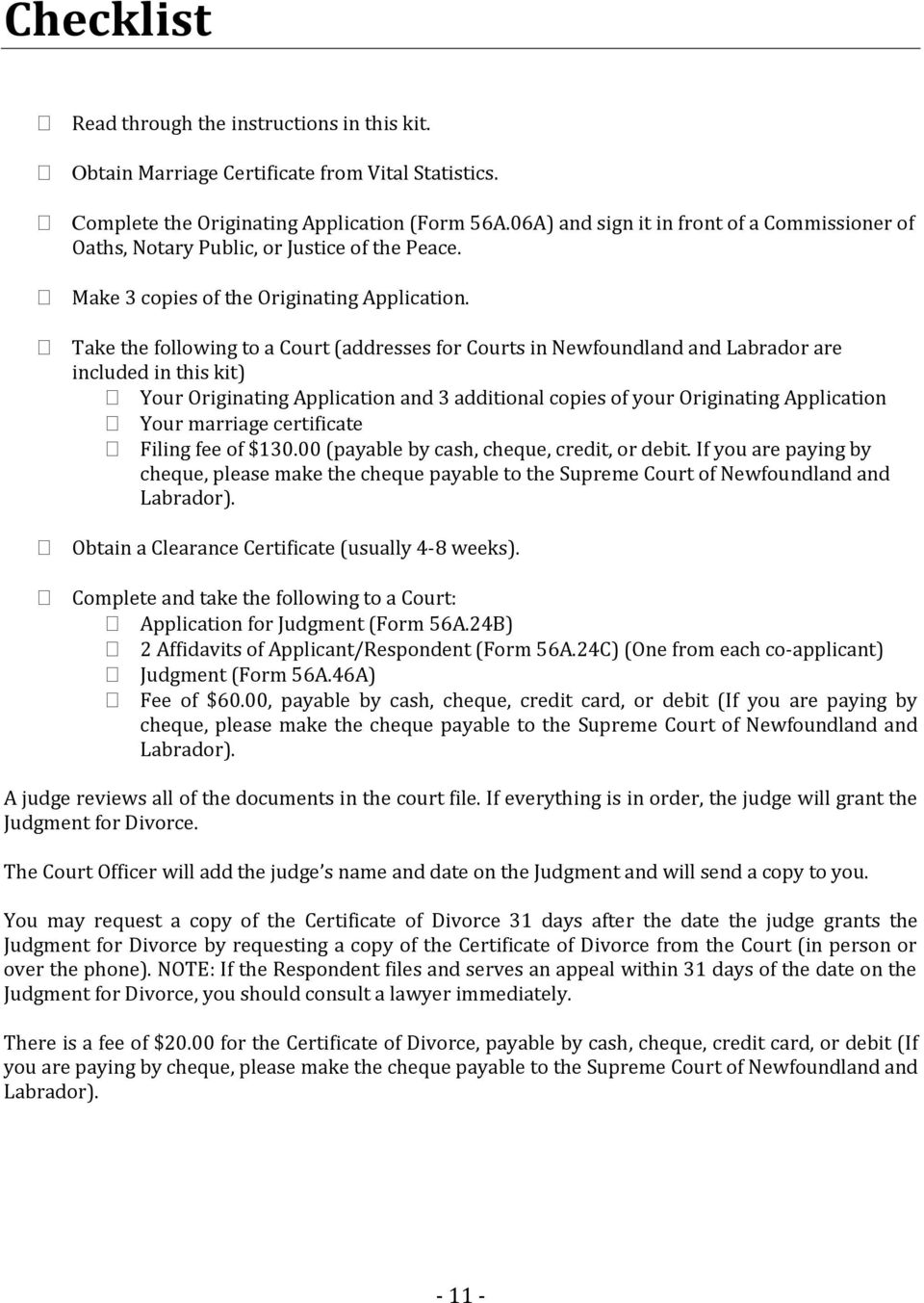 Joint or co applicant uncontested divorce self help kit pdf take the following to a court addresses for courts in newfoundland and labrador are included solutioingenieria Choice Image