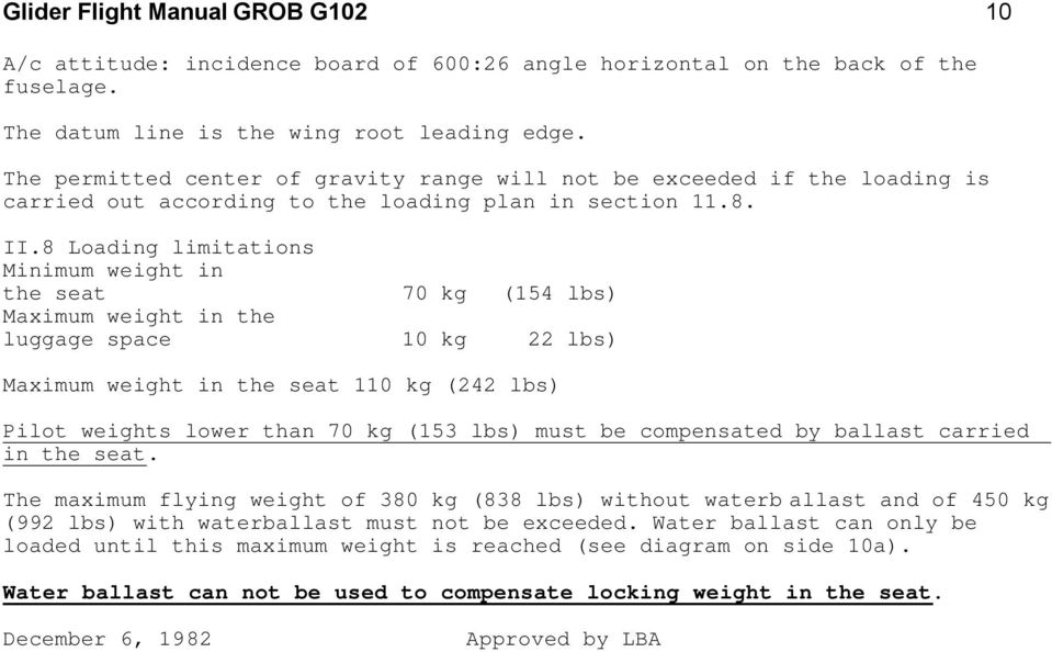Glider Flight Manual GROB G 102 Standard Astir III Factory Serial