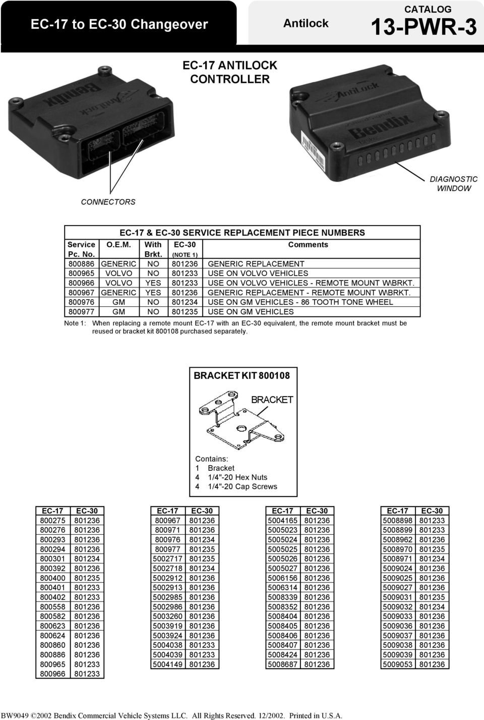 800967 GENERIC YES 801236 GENERIC REPLACEMENT - REMOTE MOUNT ...