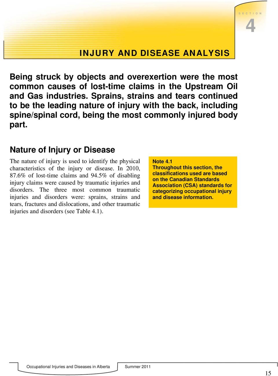 Nature of Injury or Disease The nature of injury is used to identify the physical characteristics of the injury or disease. In 2010, 87.6 of lost-time claims and 94.