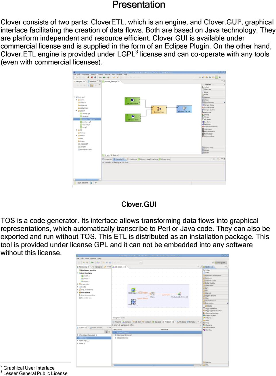 Evaluation of two ETL's : CloverETL vs  1 Talend Open Studio - PDF