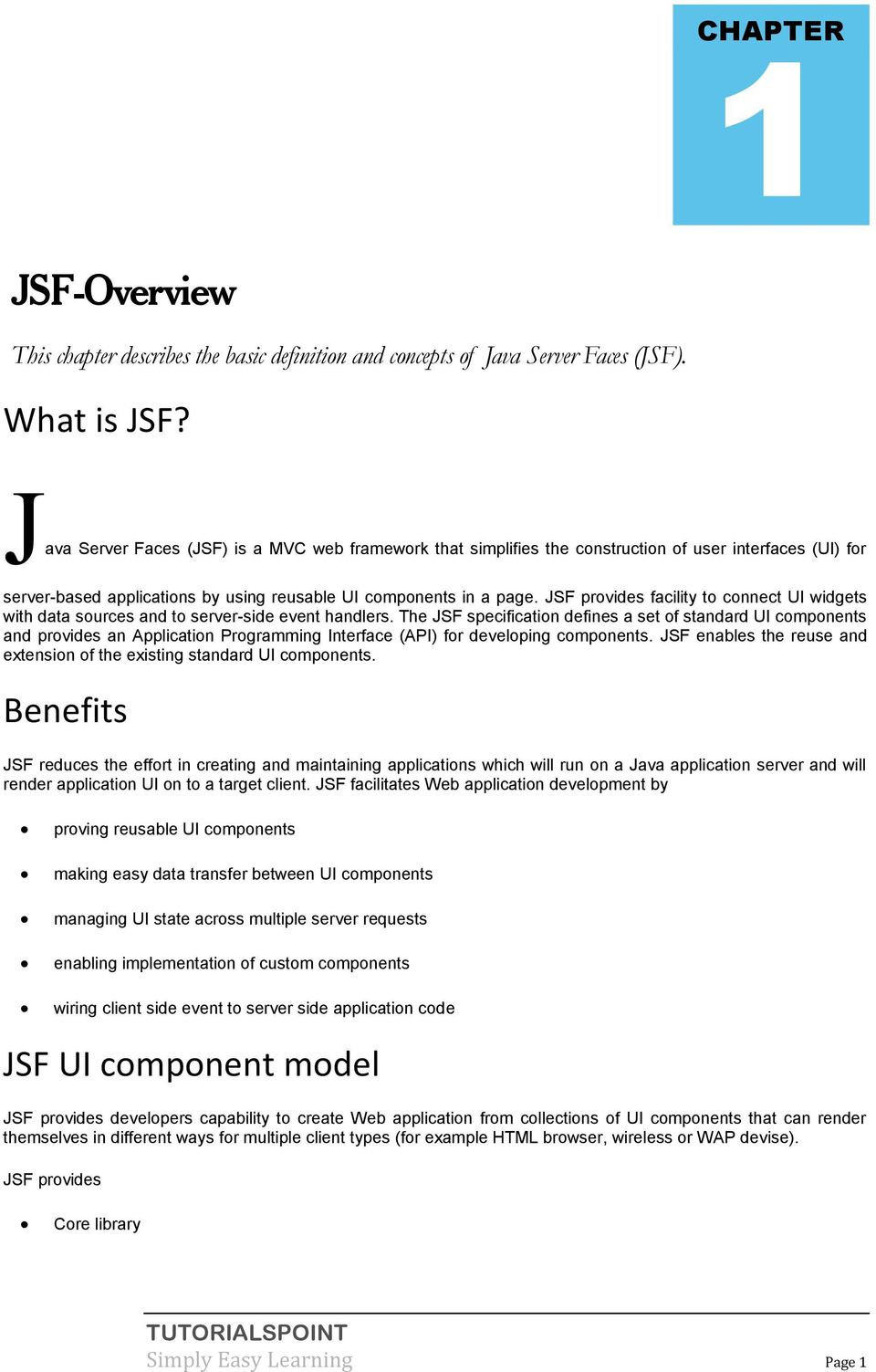 Java Server Faces (JSF) Tutorial - PDF