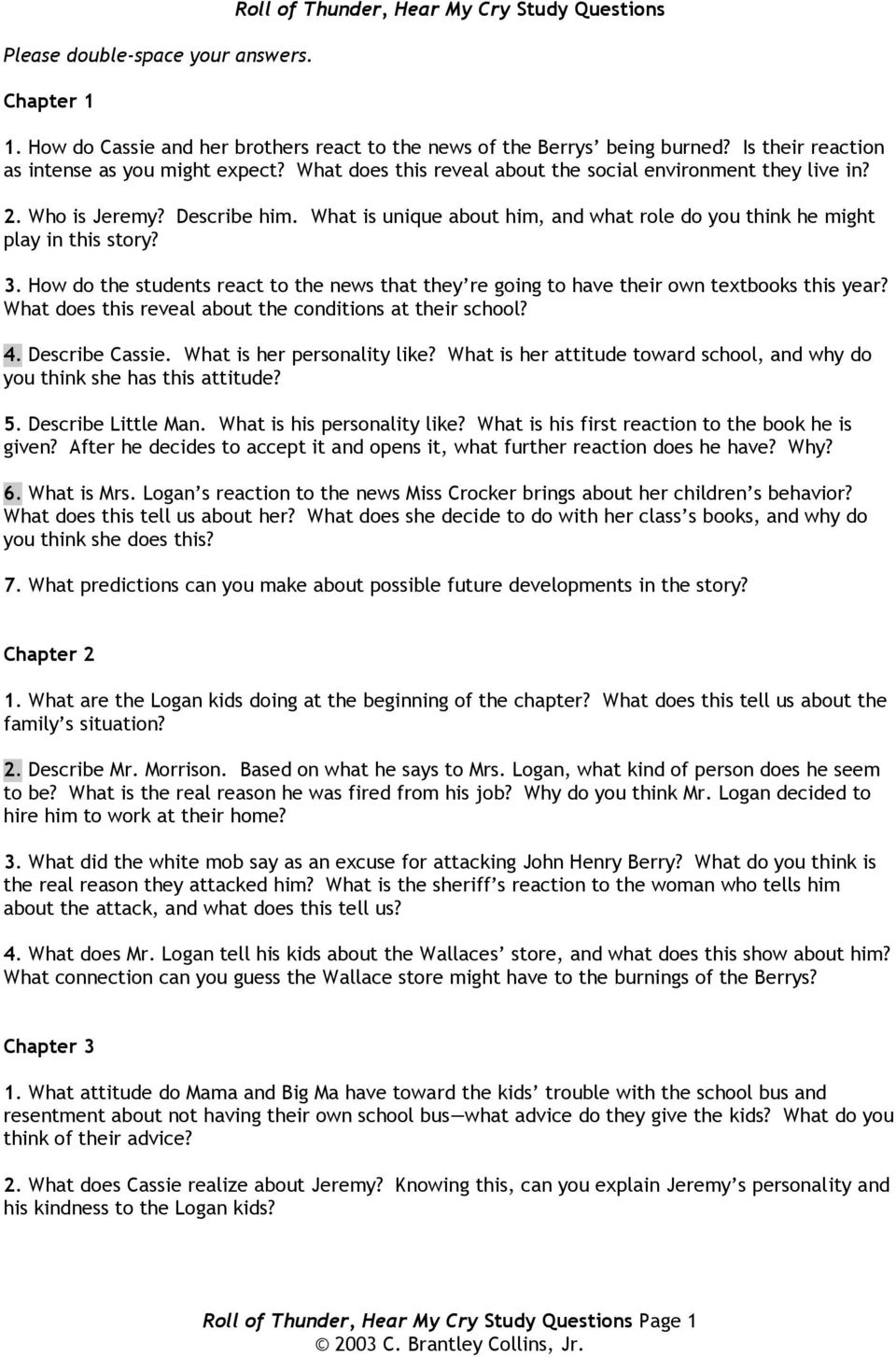 Roll Of Thunder Hear My Cry Study Questions Pdf