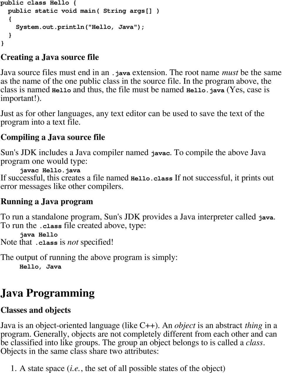 An Introduction to the Java Programming Language History of