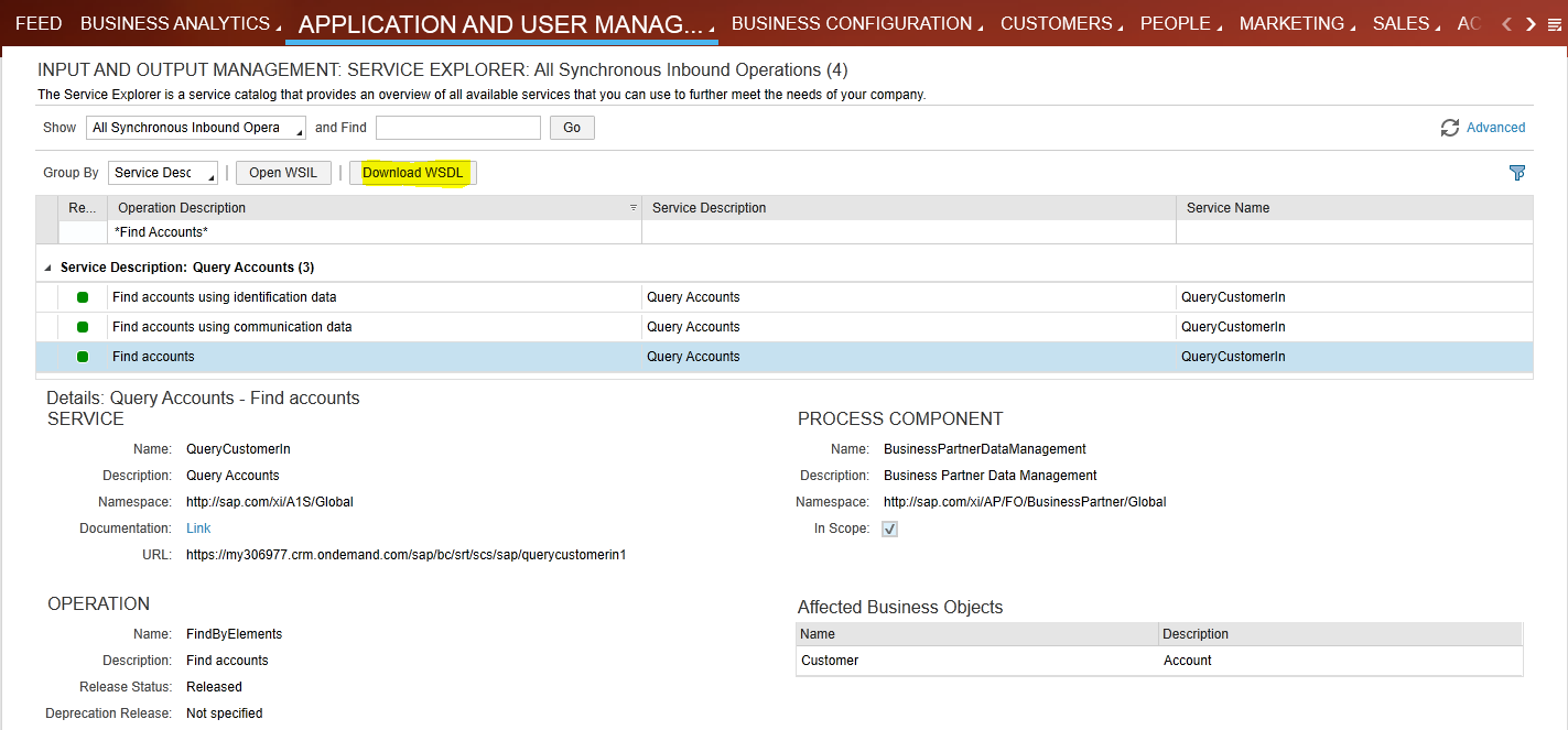 How to Call SAP Cloud for Customer SOAP API for Account