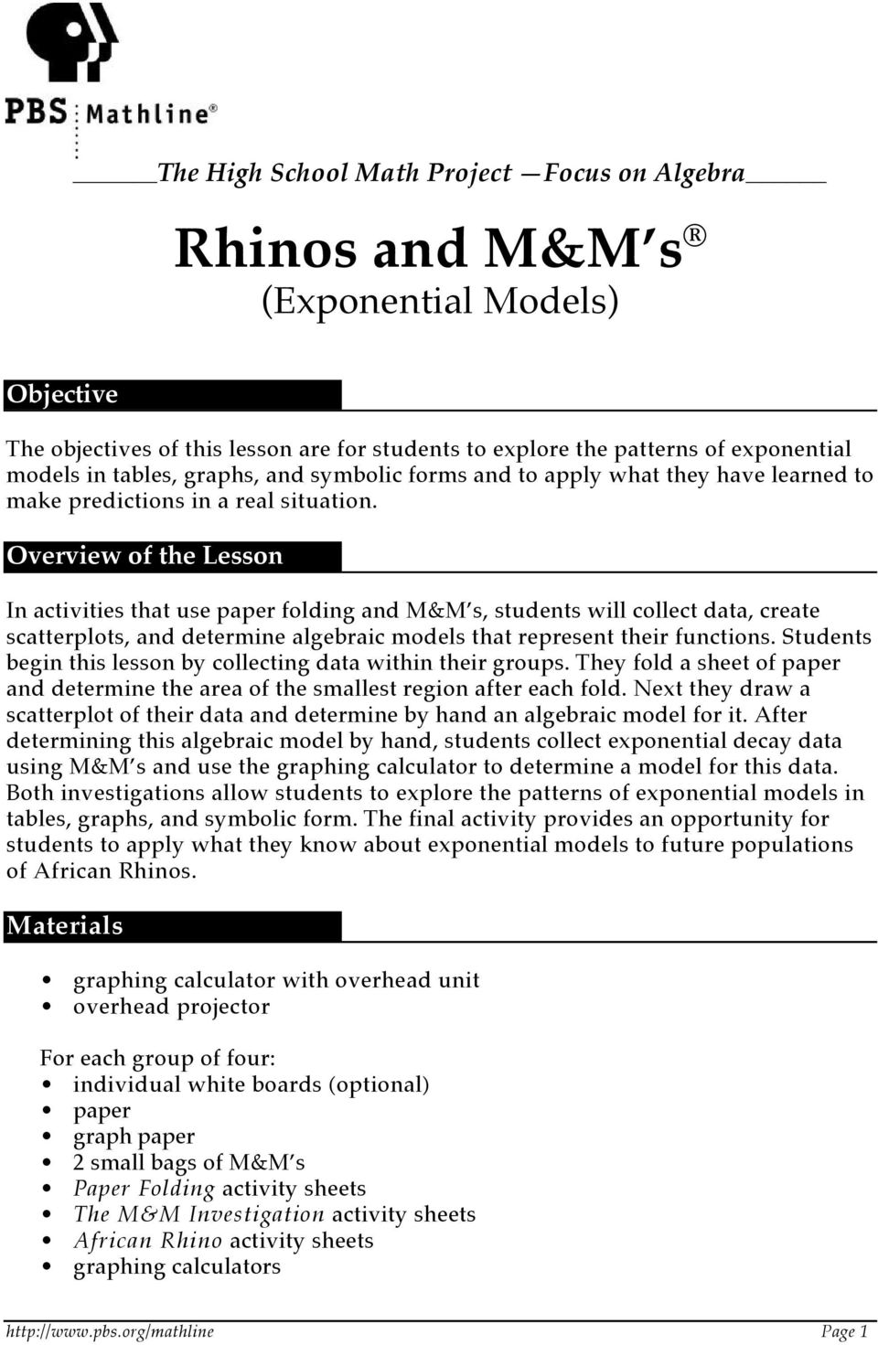 The High School Math Project Focus On Algebra Rhinos And Mm S