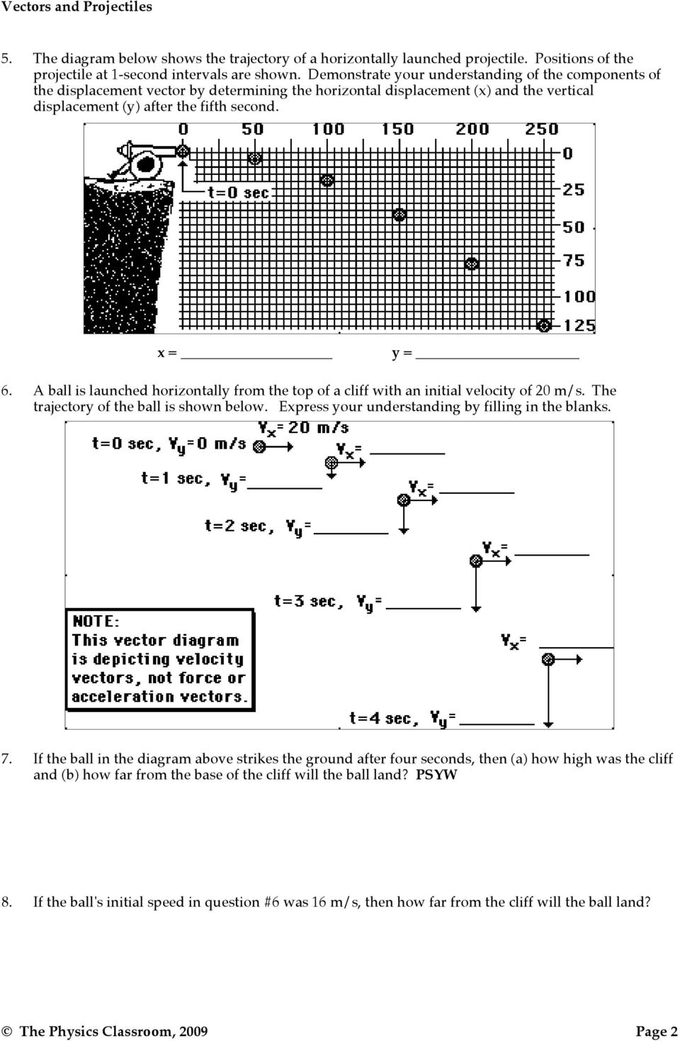 Projectile Motion Vectors And Projectiles Pdf