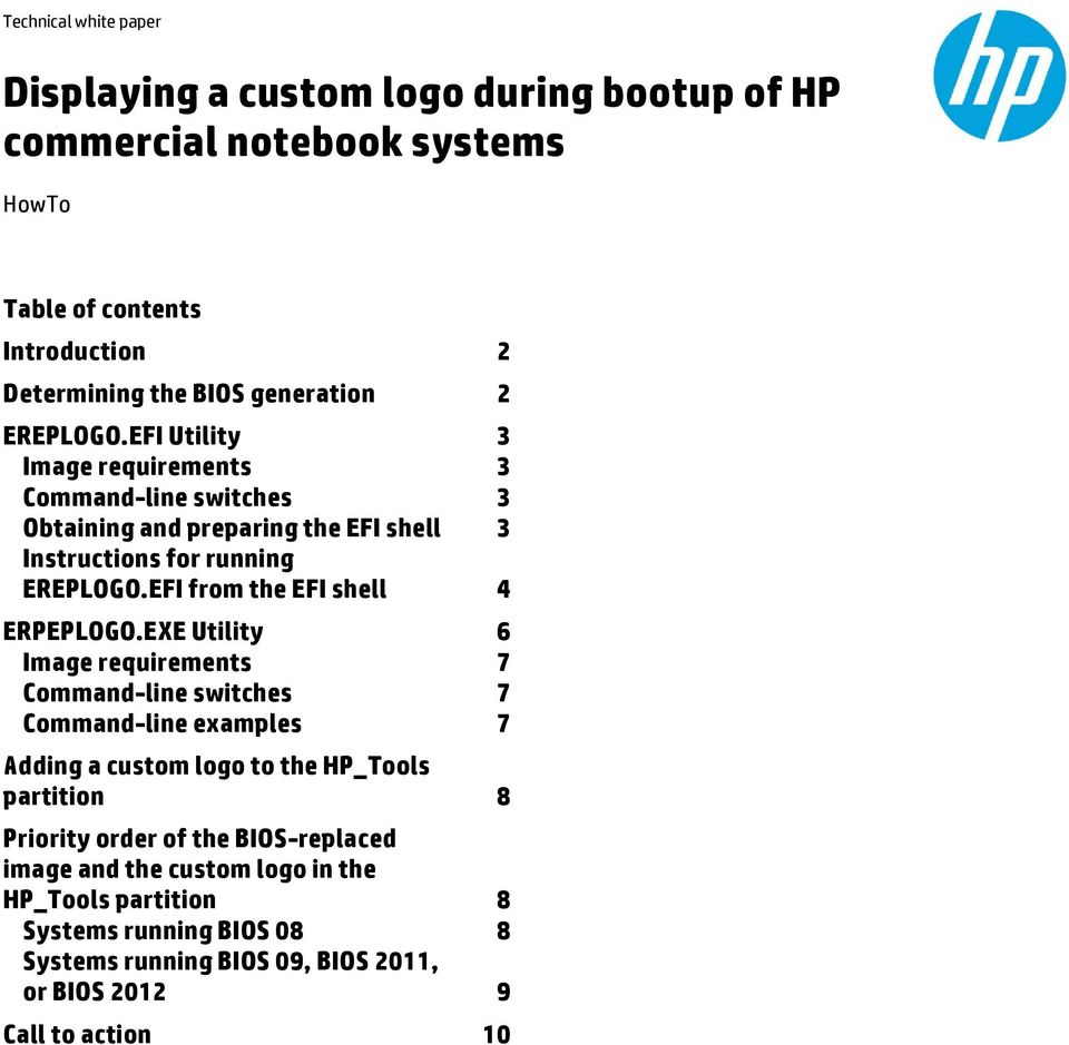 Displaying a custom logo during bootup of HP commercial