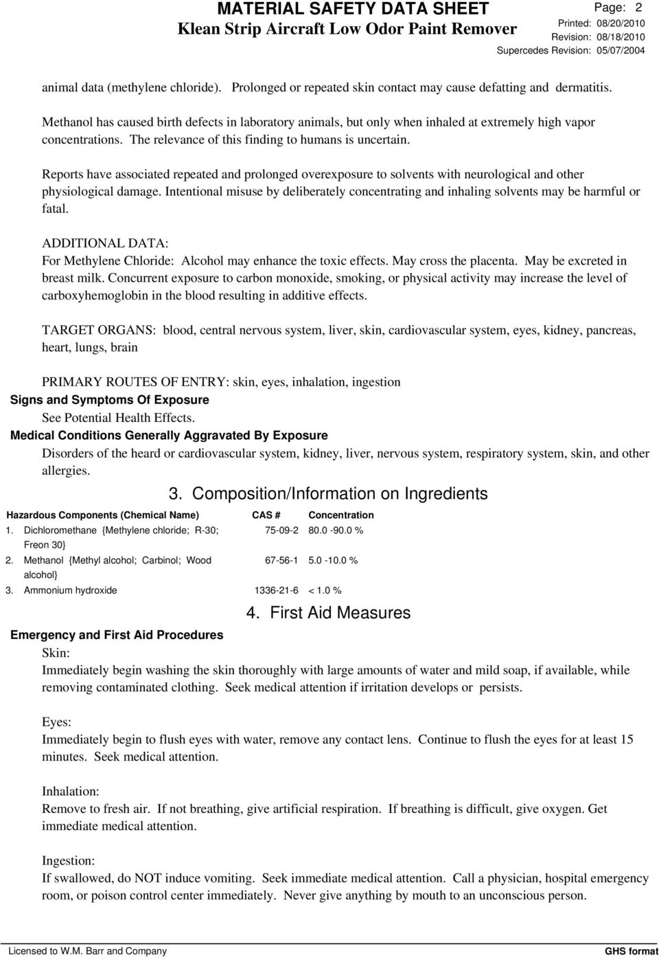 Material Safety Data Sheet Klean Strip Aircraft Low Odor Paint