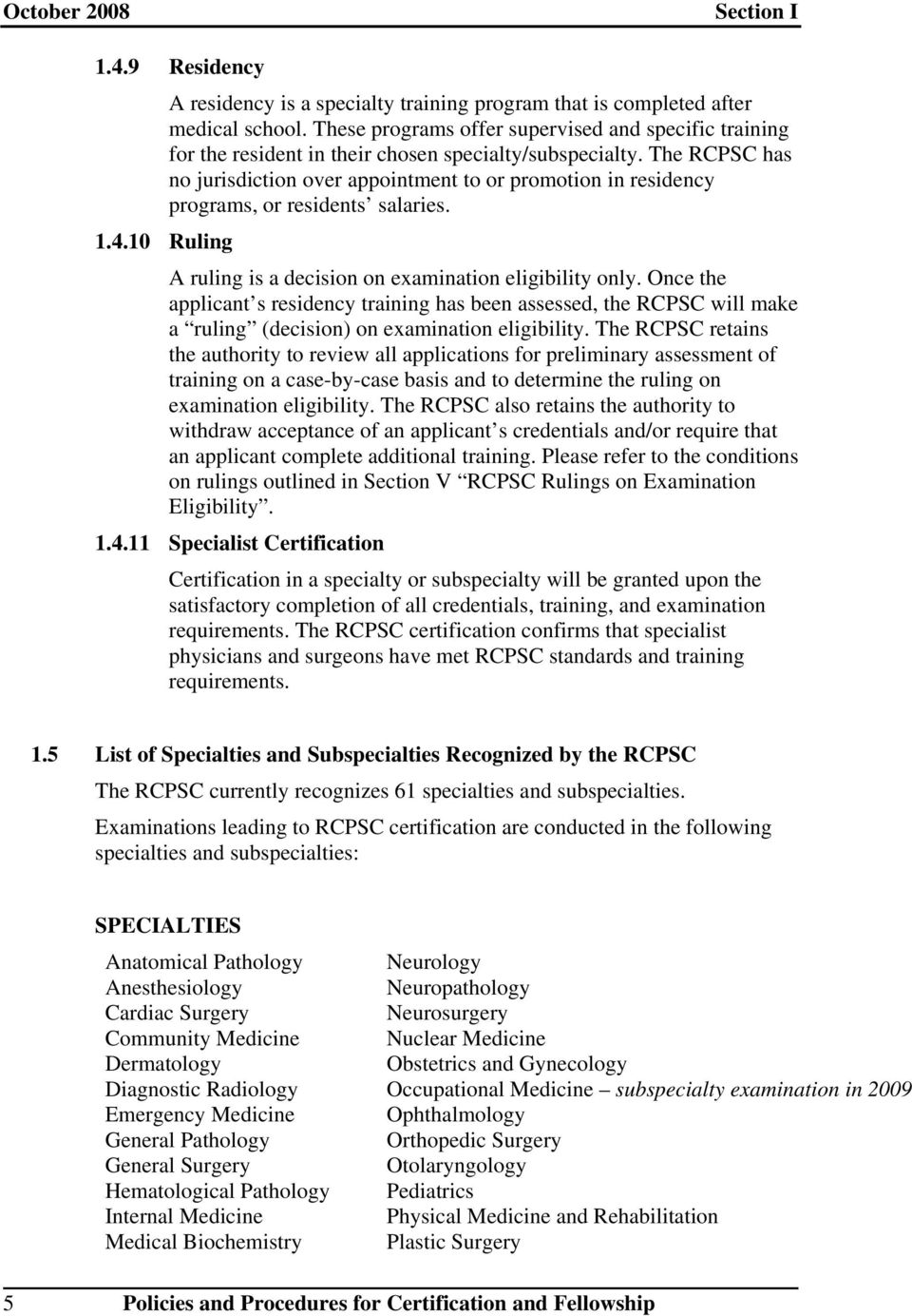 Policies and Procedures for Certification and Fellowship - PDF