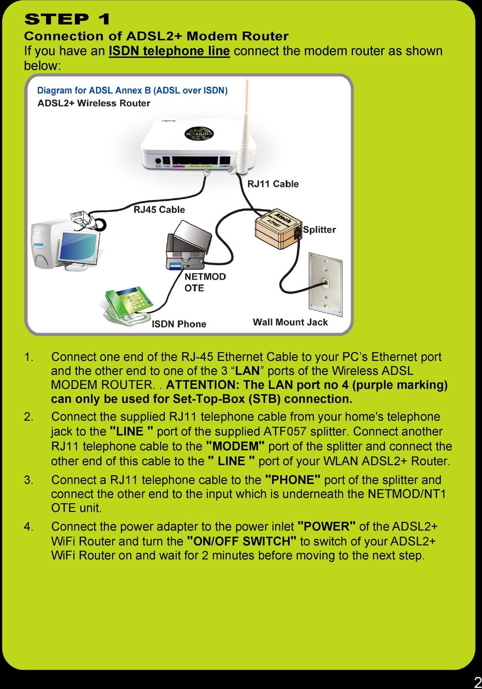 Baudtec Tw263r4 Adsl2 Modem Router System Requirements Pdf Adsl Rj11 Wiring Diagram For Attention The Lan Port No 4 Purple Marking Can Only Be Used