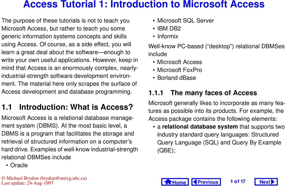 Access Tutorial 1: Introduction to Microsoft Access - PDF