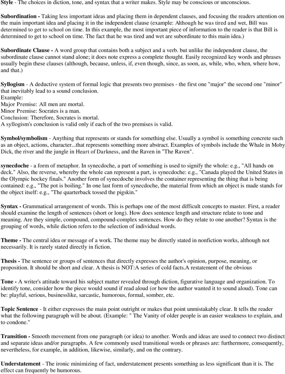 Glossary of Literary and Rhetorical Terms AP Language and