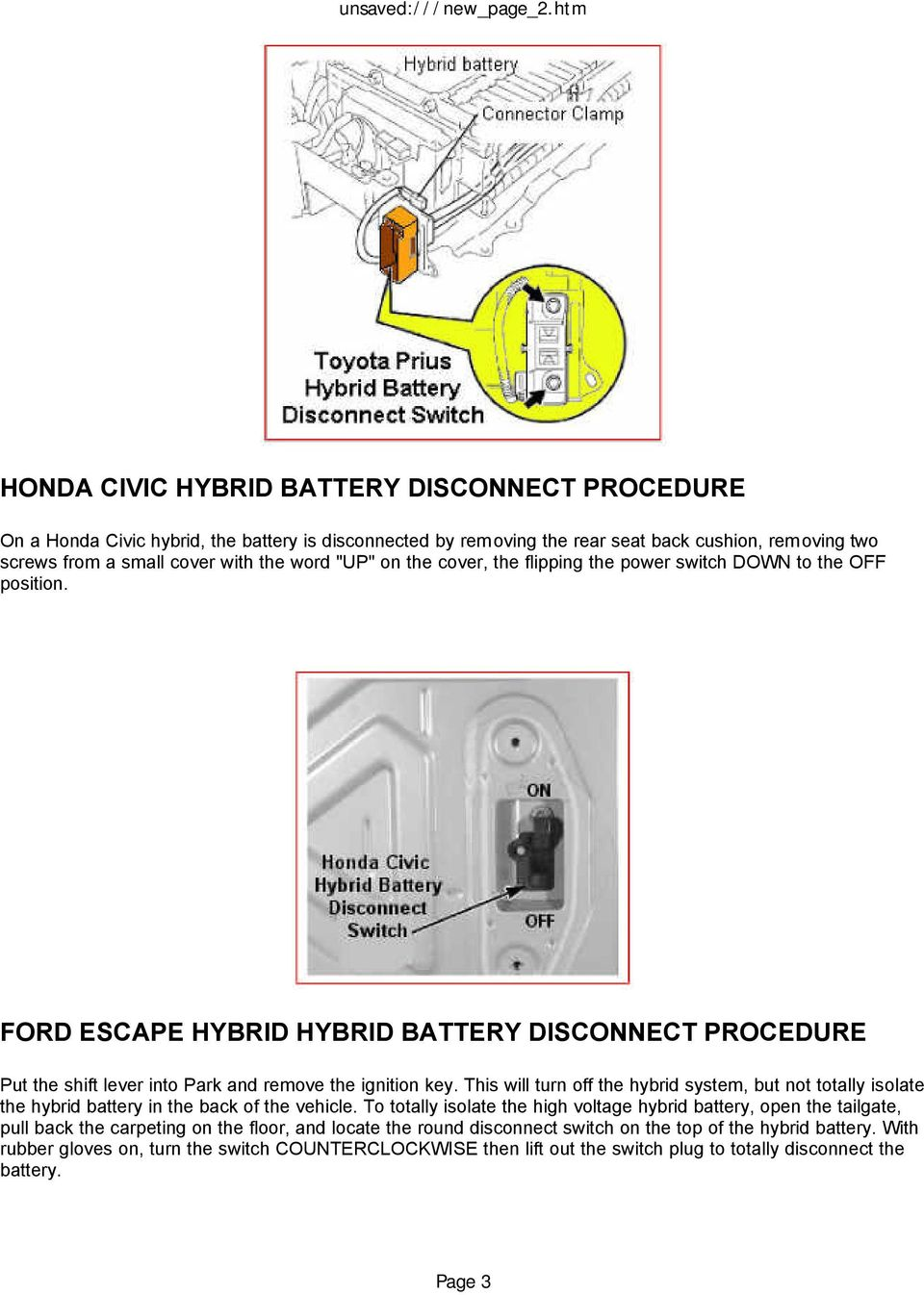 Hybrid Vehicle Safety Hazards Pdf Lexus Rx450h Wiring Diagram This Will Turn Off The System But Not Totally Isolate Battery In