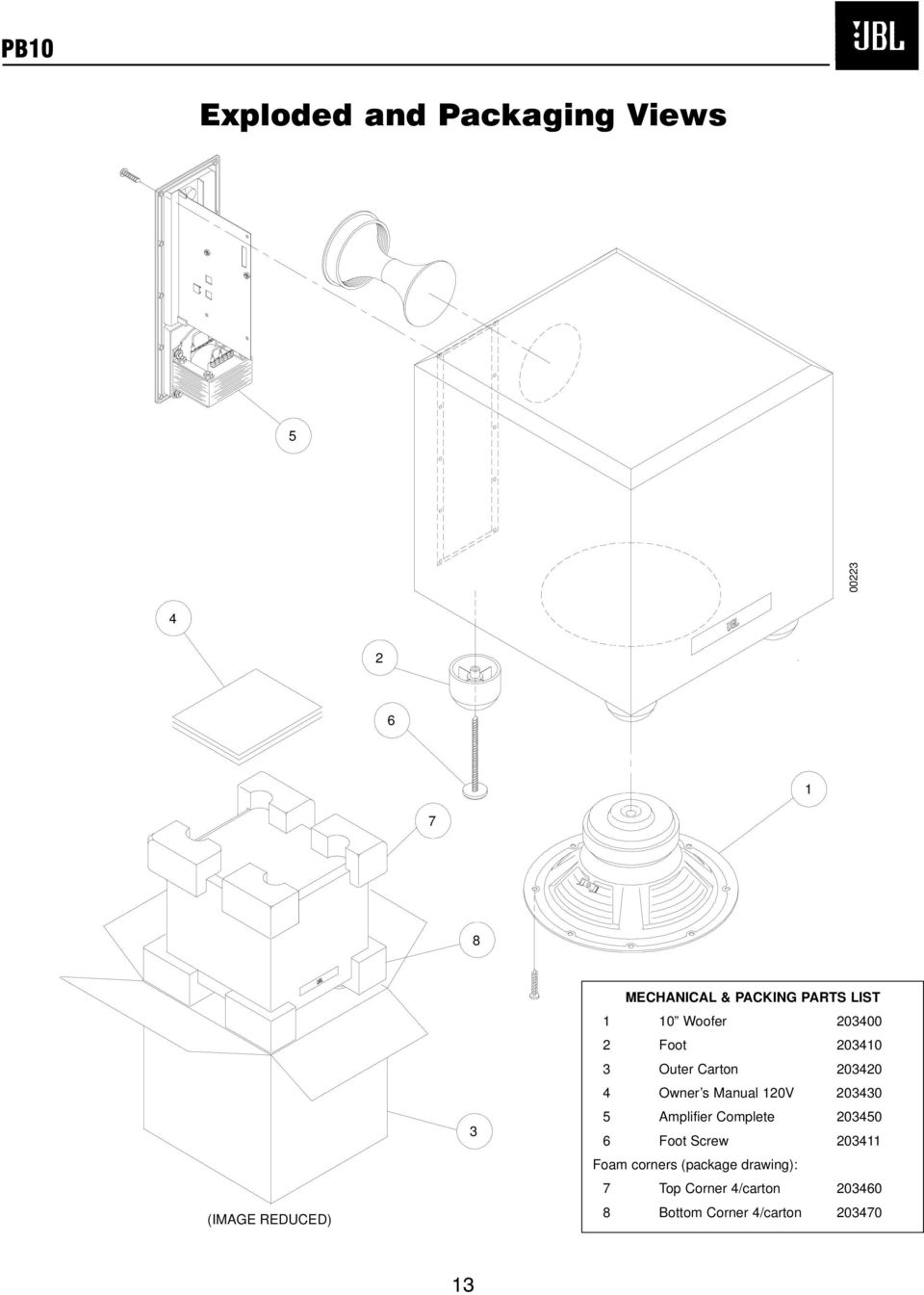 Powerbass Tm Series Pb10 Subwoofer Service Manual Jbl Incorporated Tda7294 Audio Amplifier Circuits P Marian S 120v 203430 5 Complete 203450 6 Foot Screw 203411 Foam Corners
