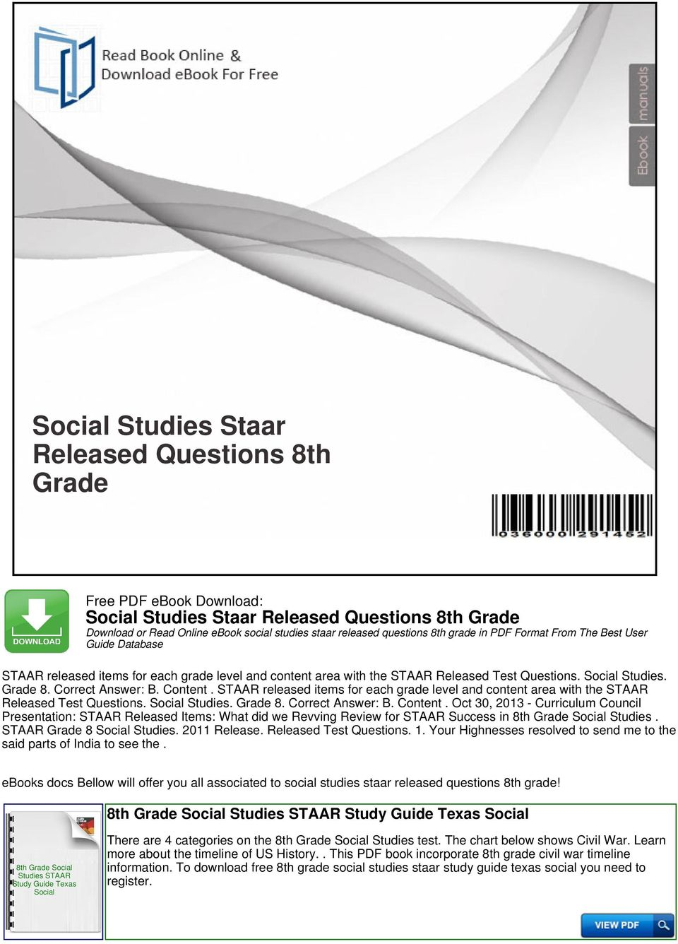 Social studies staar released questions 8th grade pdf staar released items for each grade level and content area with the staar questions fandeluxe Image collections