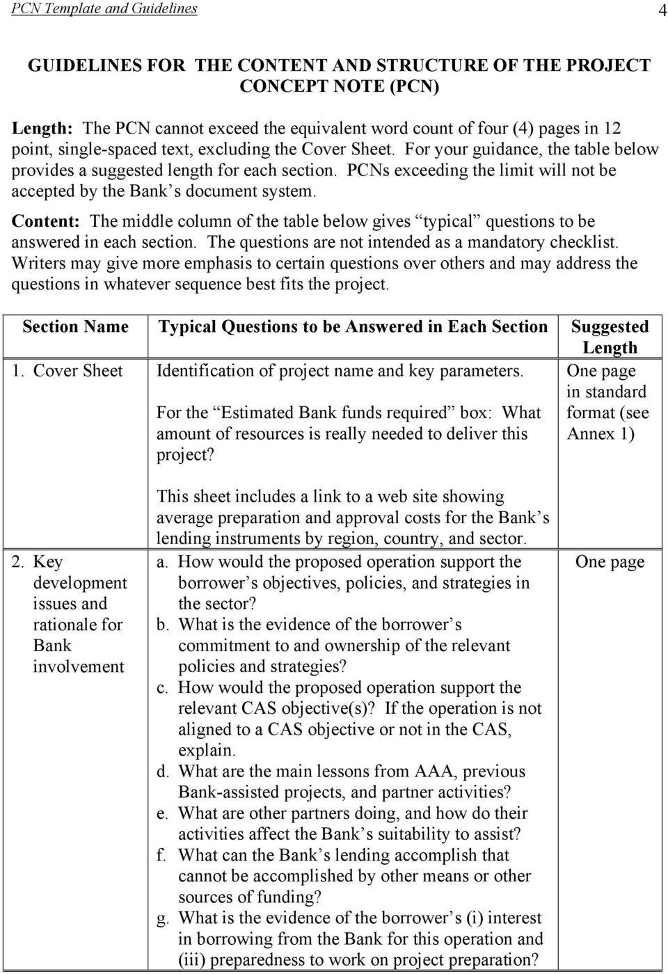 Template And Guidelines For The Project Concept Note Pcn