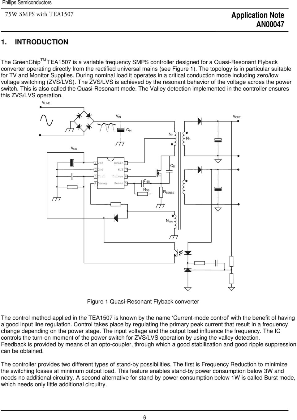 75w Smps With Tea1507 Quasi Resonant Flyback Controller Pdf Converter Zvs Boost Free Final Year The Vs Is Achieved By Behavior Of Voltage Across Power