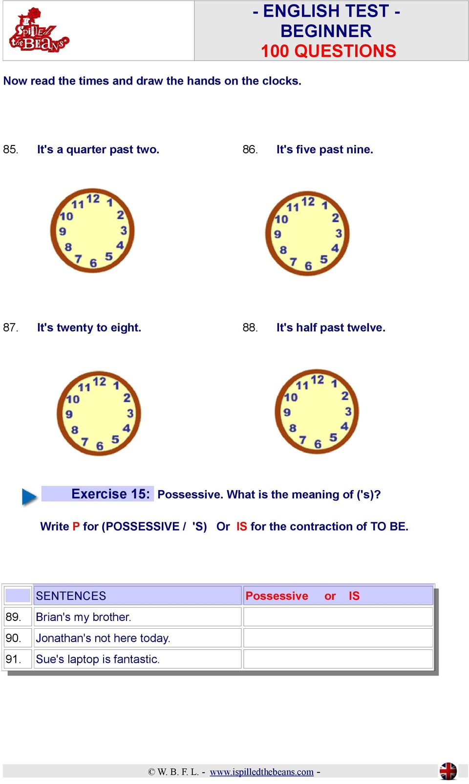 What is the meaning of ('s)? Write P for (POSSESSIVE /