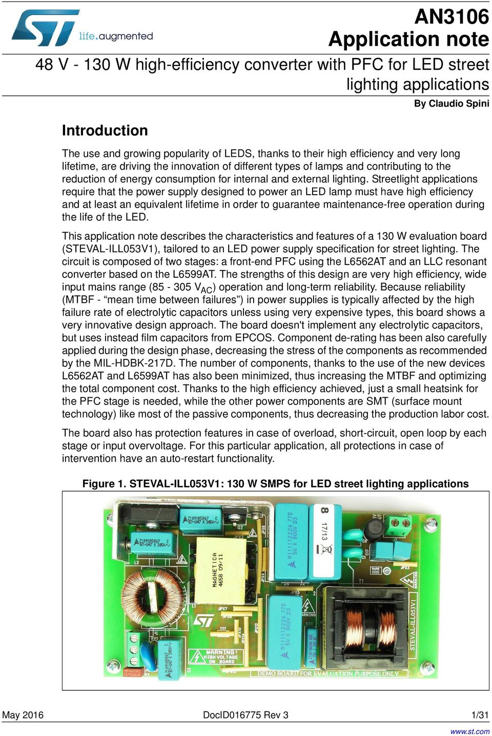 An3106 Application Note Pdf Smps 50 Watt Led Street Light Driver Circuit Electronic Streetlight Applications Require That The Power Supply Designed To An Lamp Must Have High