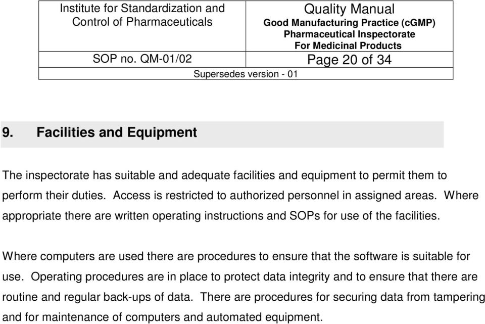 Why Sop Is Used | Quality Manual Quality Manual Institute For Standardization And