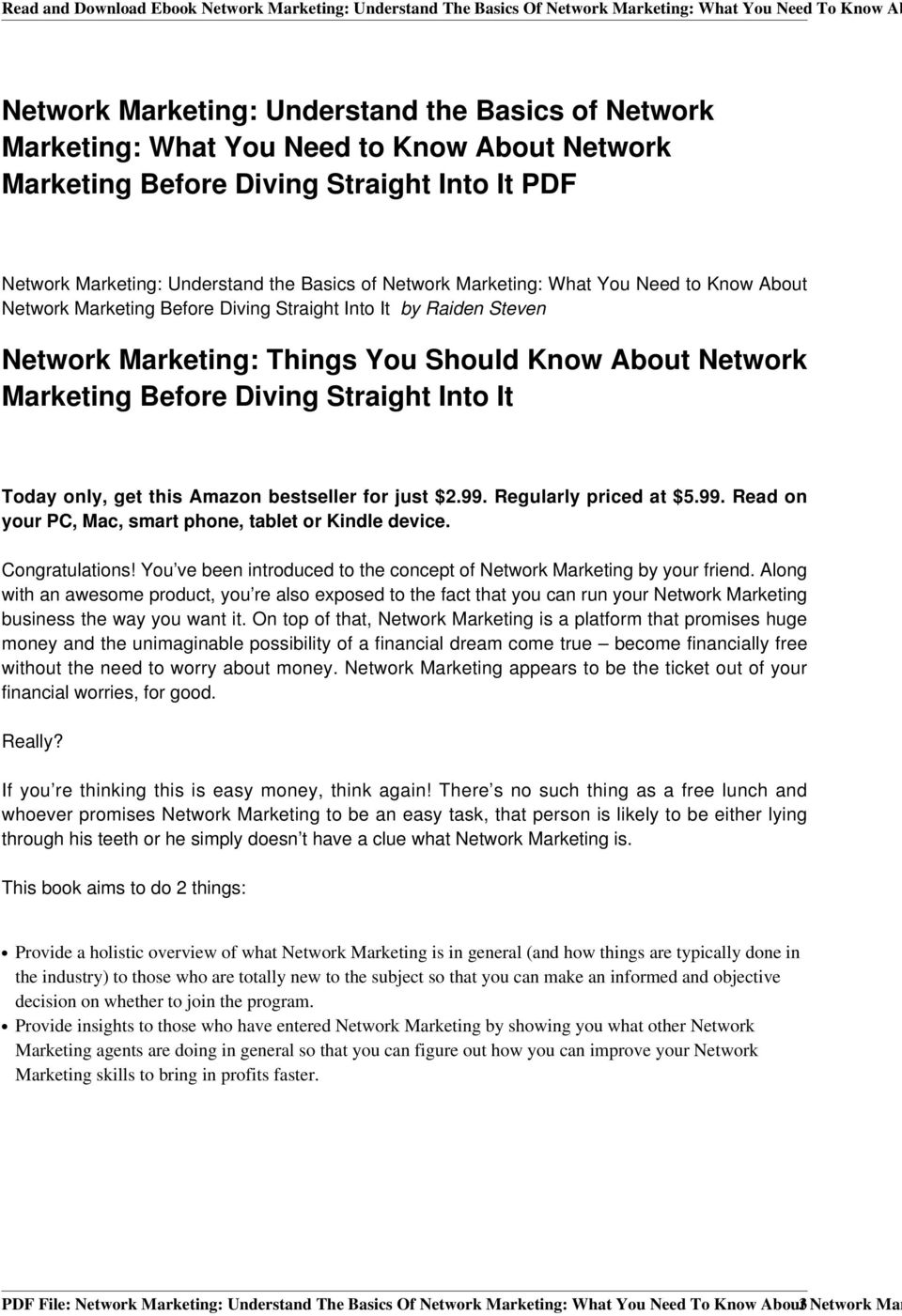 Read and Download Ebook Network Marketing: Understand The