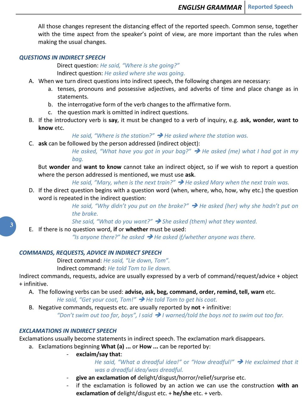 REPORTED SPEECH  ENGLISH GRAMMAR Reported Speech - PDF