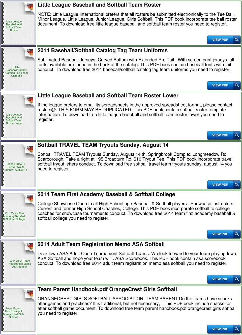 to download free little league baseball and softball team roster you need to 2014 baseball