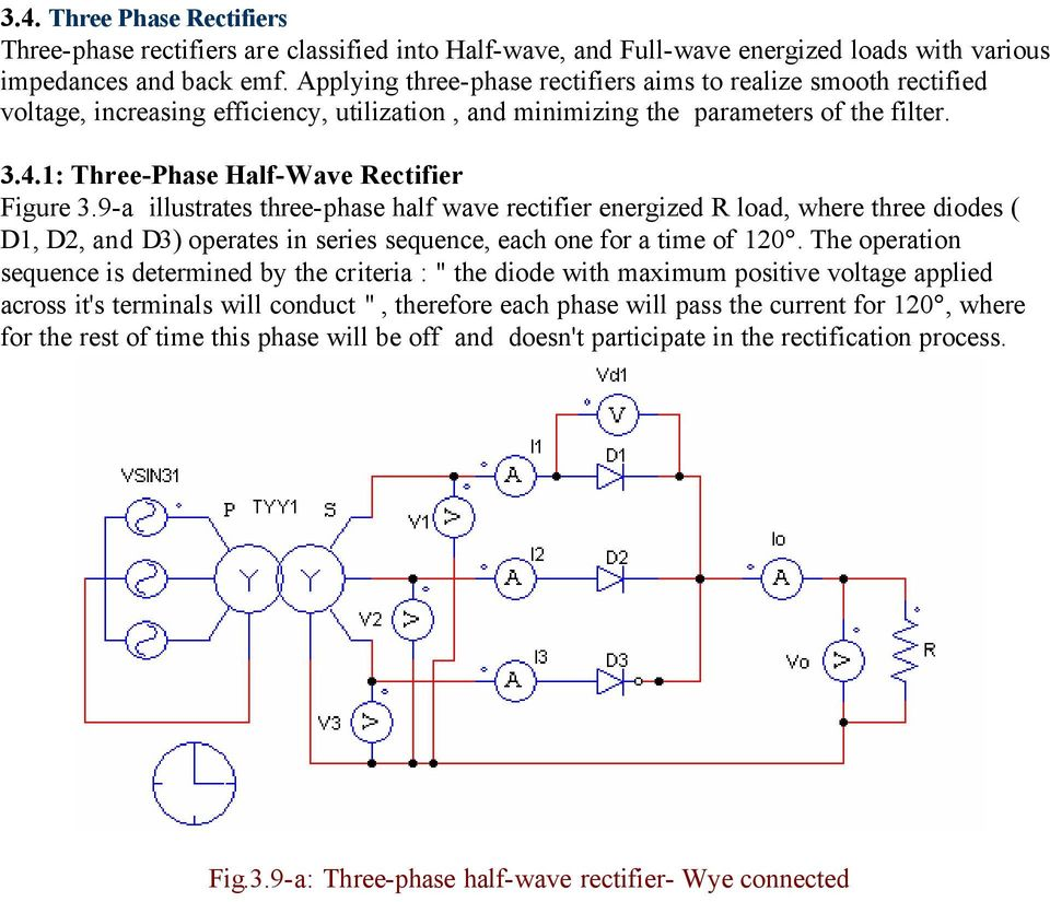 Chapter Three Diode Rectifiers Pdf Full Wave Rectifier Circuit With Averaging Filter Pictures 9 A Illustrates Phase Half Energized Load Where Diodes