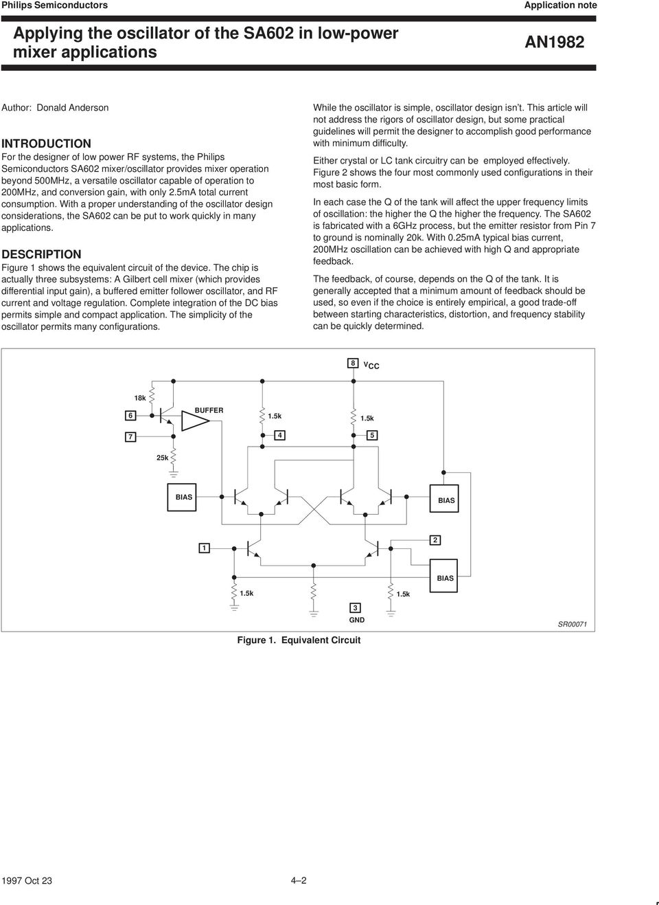 An1982 Applying The Oscillator Of Sa602 In Low Power Mixer 800watt Softstart Triac Light Dimmer Circuit Diagram Tradeofic With A Proper Understanding Design Considerations Sa02 Can Be Put To
