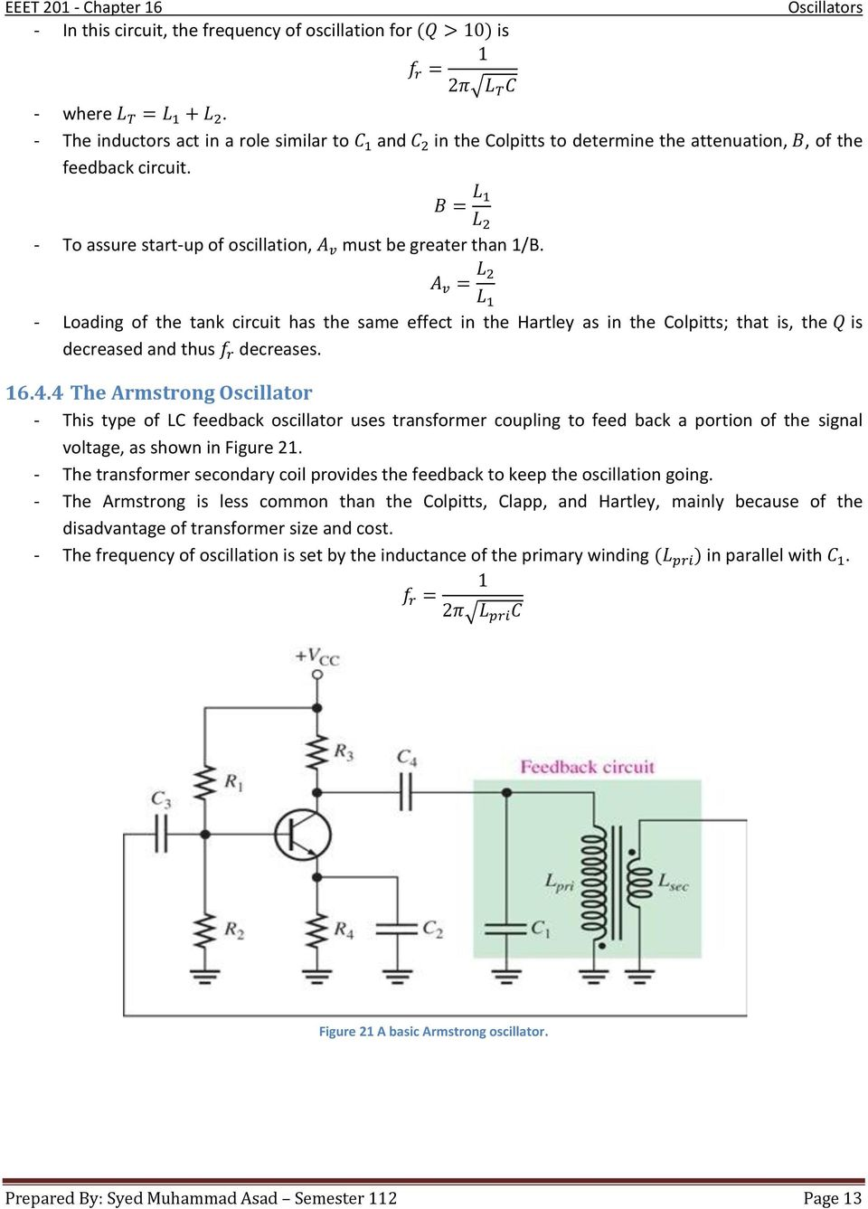 Chapter 16 Oscillators Pdf Oscillator Circuitoscillator Icsquare Wave Circuitcommon 4 The Armstrong This Type Of Lc Feedback Uses Transformer Coupling To Feed
