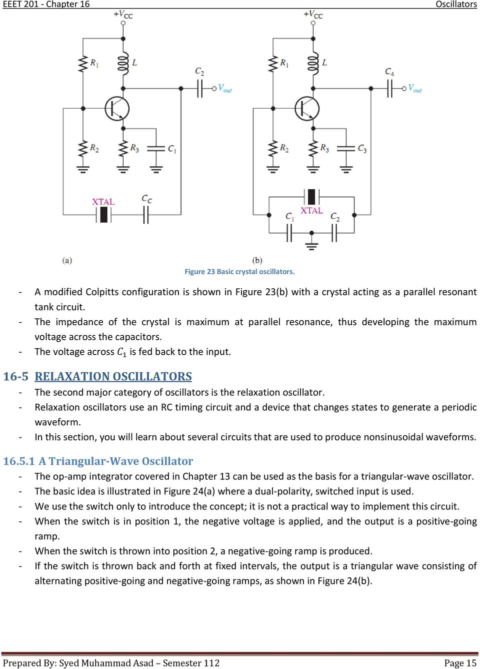 Chapter 16 Oscillators Pdf Oscillator Circuit Diagram Composed Of Crystal Inverter 5 Relaxation The Second Major Category Is