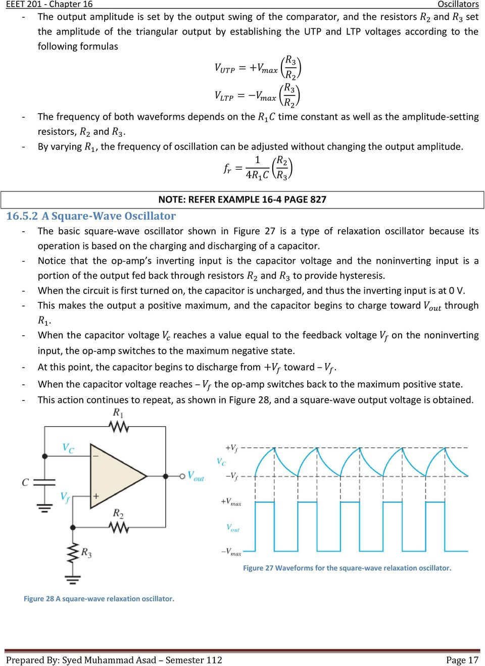 Chapter 16 Oscillators Pdf Op Amp Astable Multivibrator Oscillator Circuit By Varying The Frequency Of Oscillation Can Be Adjusted Without Changing Output Amplitude
