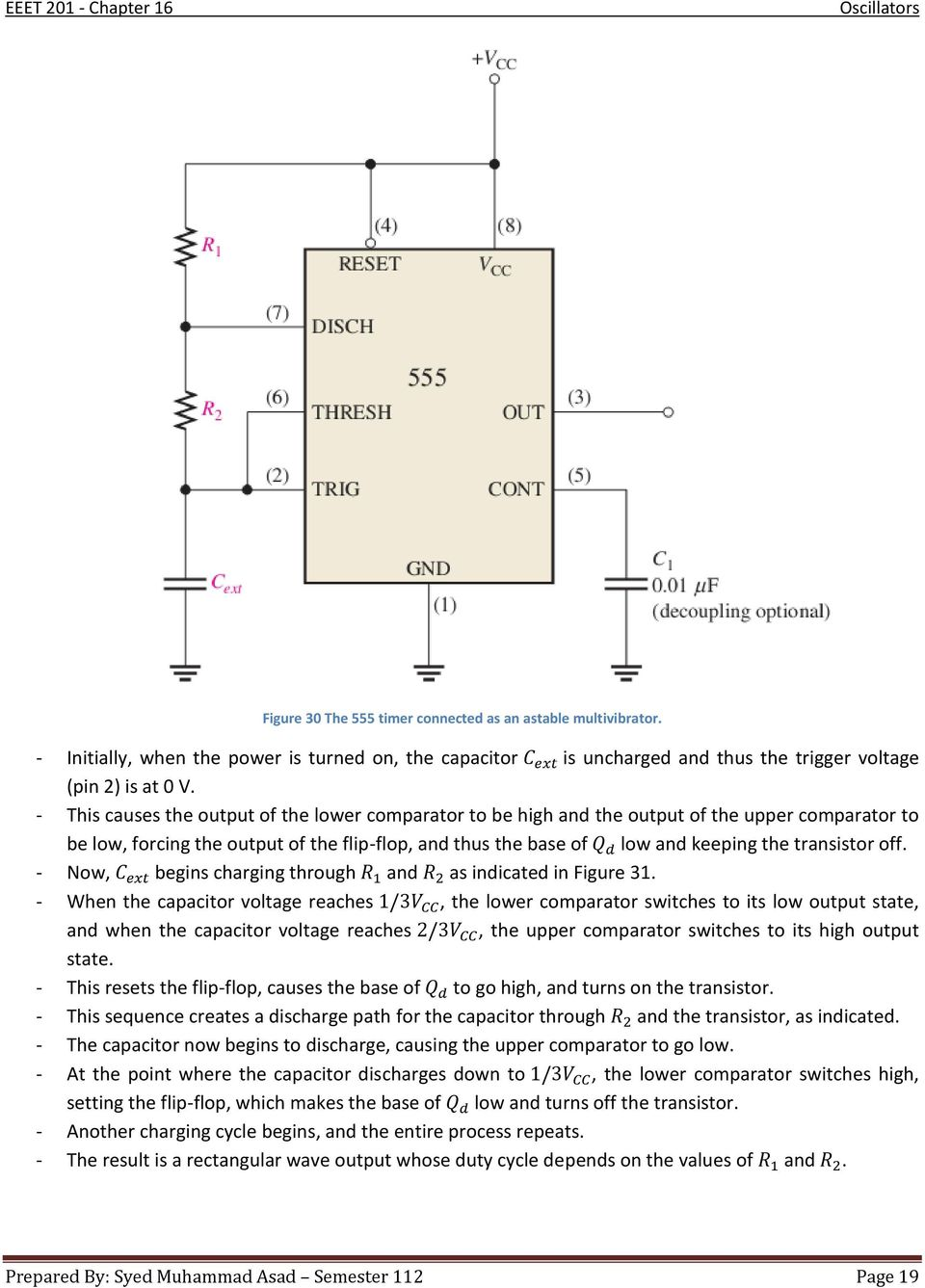 Figure 2 Voltage Divider Setting Comparator Input Chapter 16 Oscillators Pdf Now Begins Charging Through And As Indicated In 31