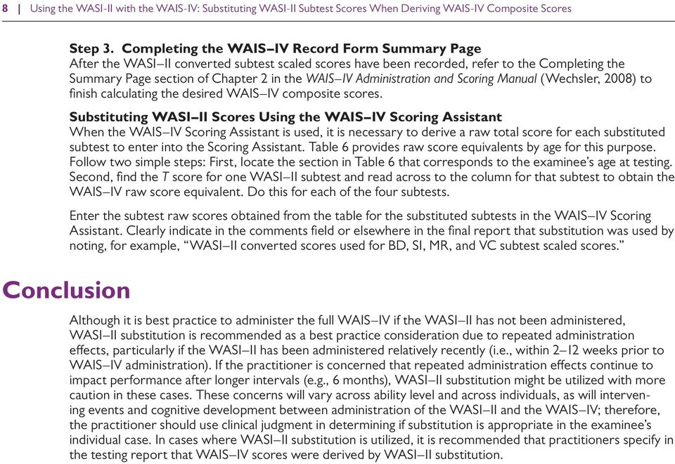 Using The WASI II With The WAIS IV Substituting WASI II