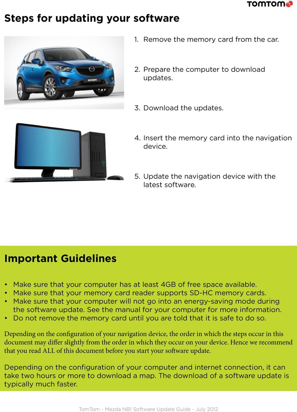 Instructions for updating the software on your Mazda NB1 navigation