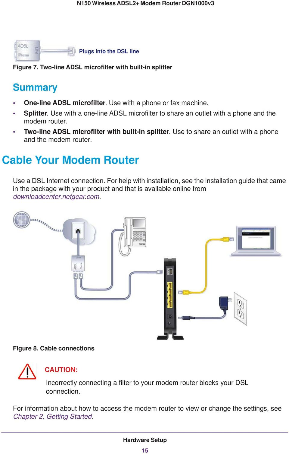 N150 Wireless Adsl2 Modem Router Dgn1000v3 Pdf Wiring Diagram For Dsl Inter On Phone Line Splitter Cable Your Use A Internet Connection