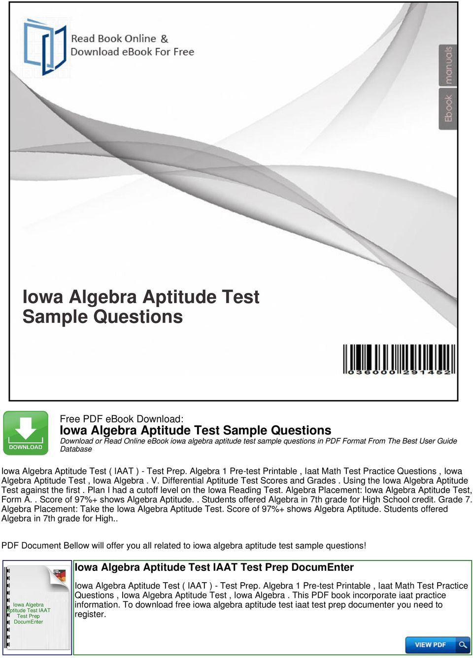 Iowa Algebra Aptitude Test Sample Questions - PDF