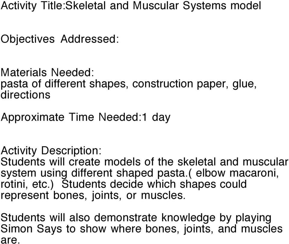 Project Based Learning Unit Skeletal And Muscular Systems Christa