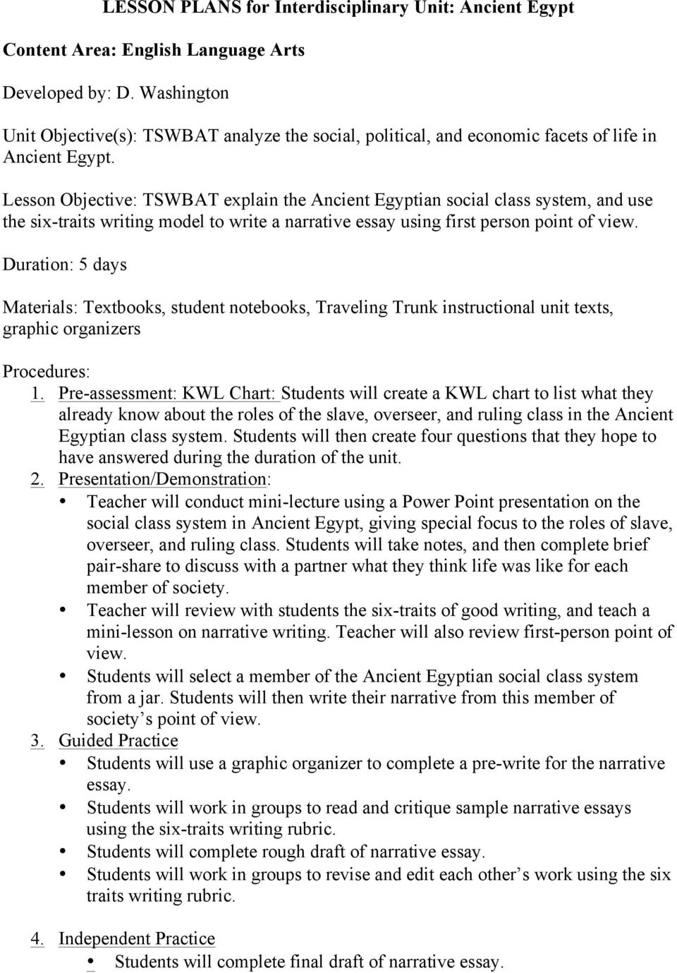 Lesson Plans For Interdisciplinary Unit Ancient Egypt  Pdf Lesson Objective Tswbat Explain The Ancient Egyptian Social Class System  And Use The Six