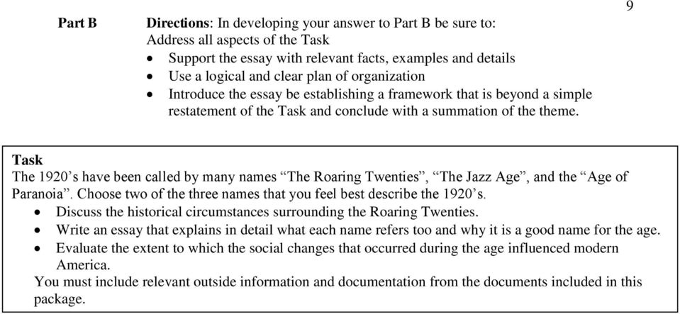 DBQ On The Roaring Twenties Historical Context Task You Are
