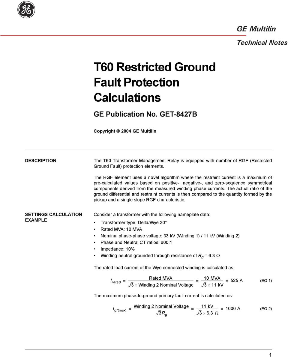 T60 Restricted Ground Fault Protection Calculations - PDF