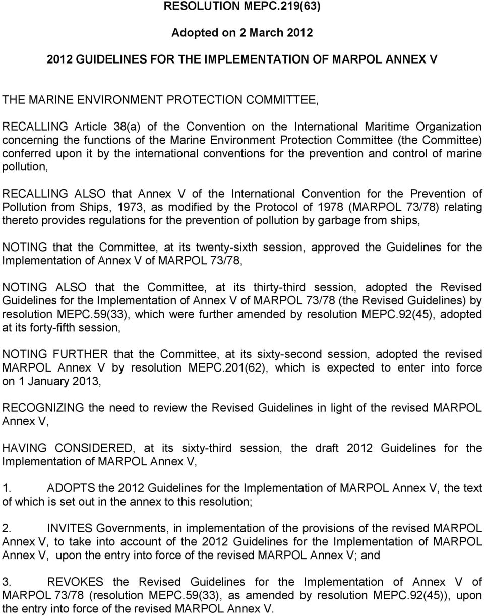 Resolution Mepc21963 Adopted On 2 March Guidelines For The