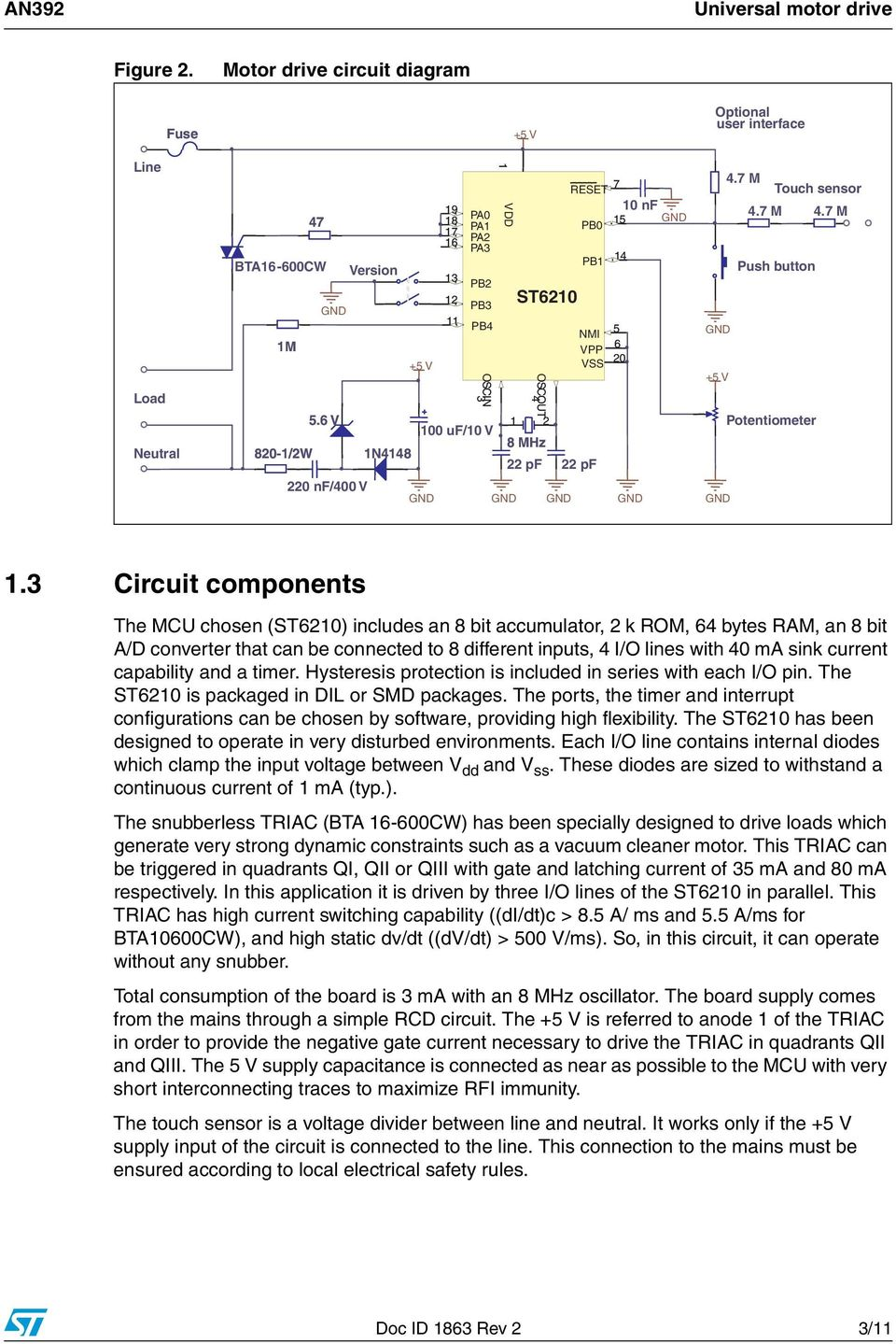An392 Application Note Pdf Bta41 600b Datasheet Electronic Circuit Projects 7 M Push Button Potentiometer 1