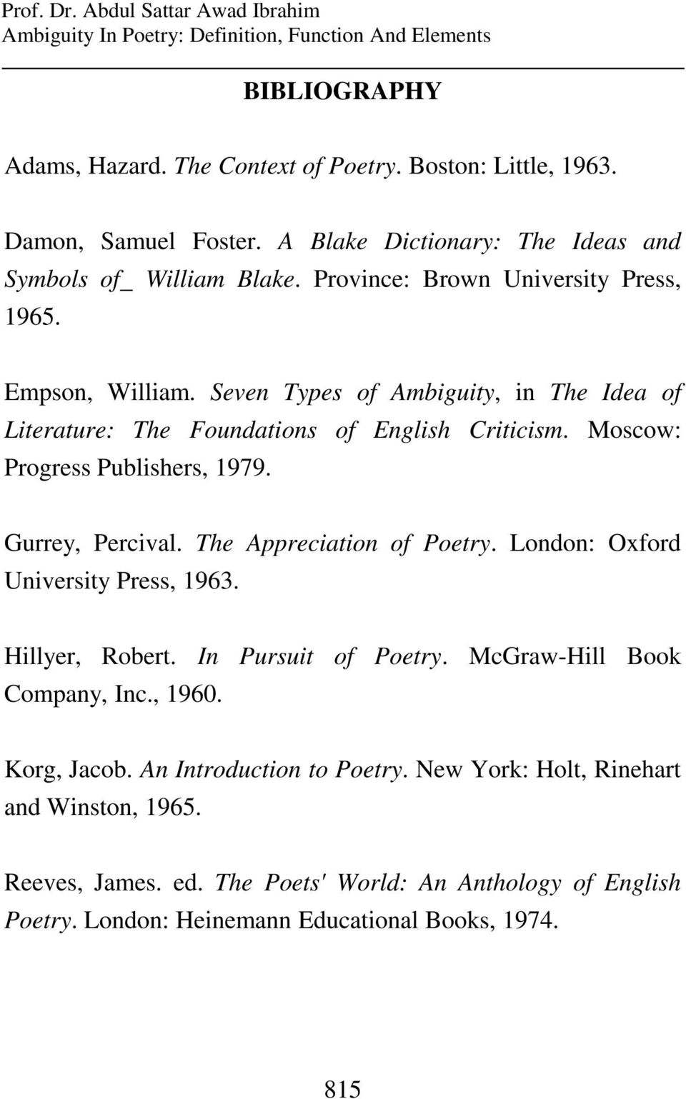 Ambiguity In Poetry Definition Function And Elements Pdf