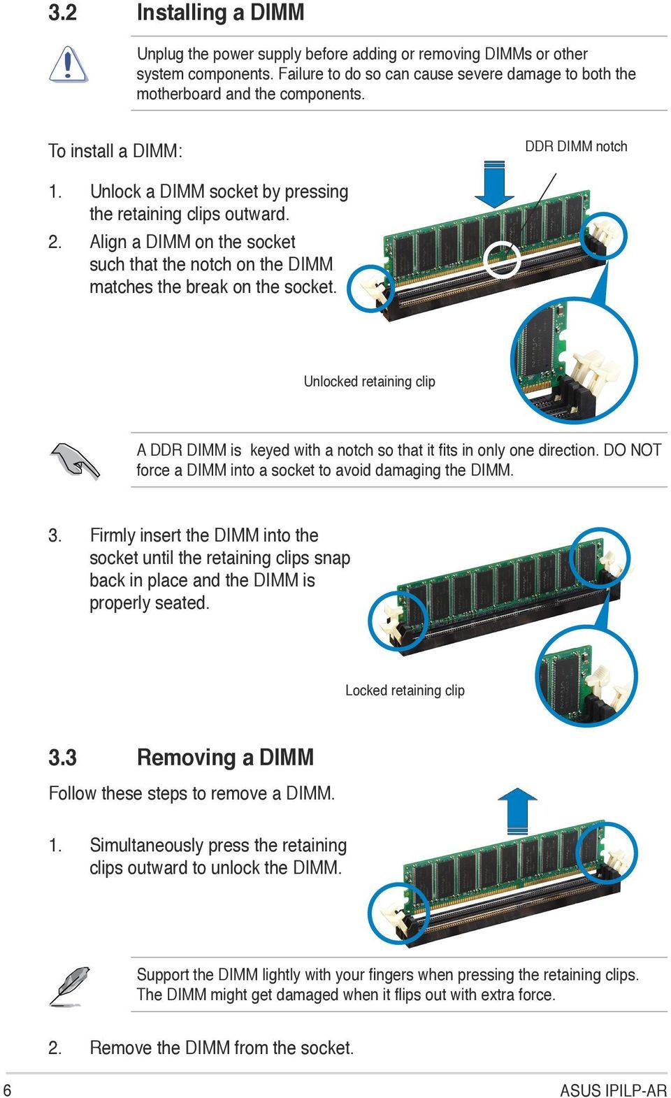 Ipilp Ar Motherboard Pdf Diagram Of How All The Components Are Placed On Asus Cubx Unlocked Retaining Clip A Ddr Dimm Is Keyed With Notch So That It Fits In