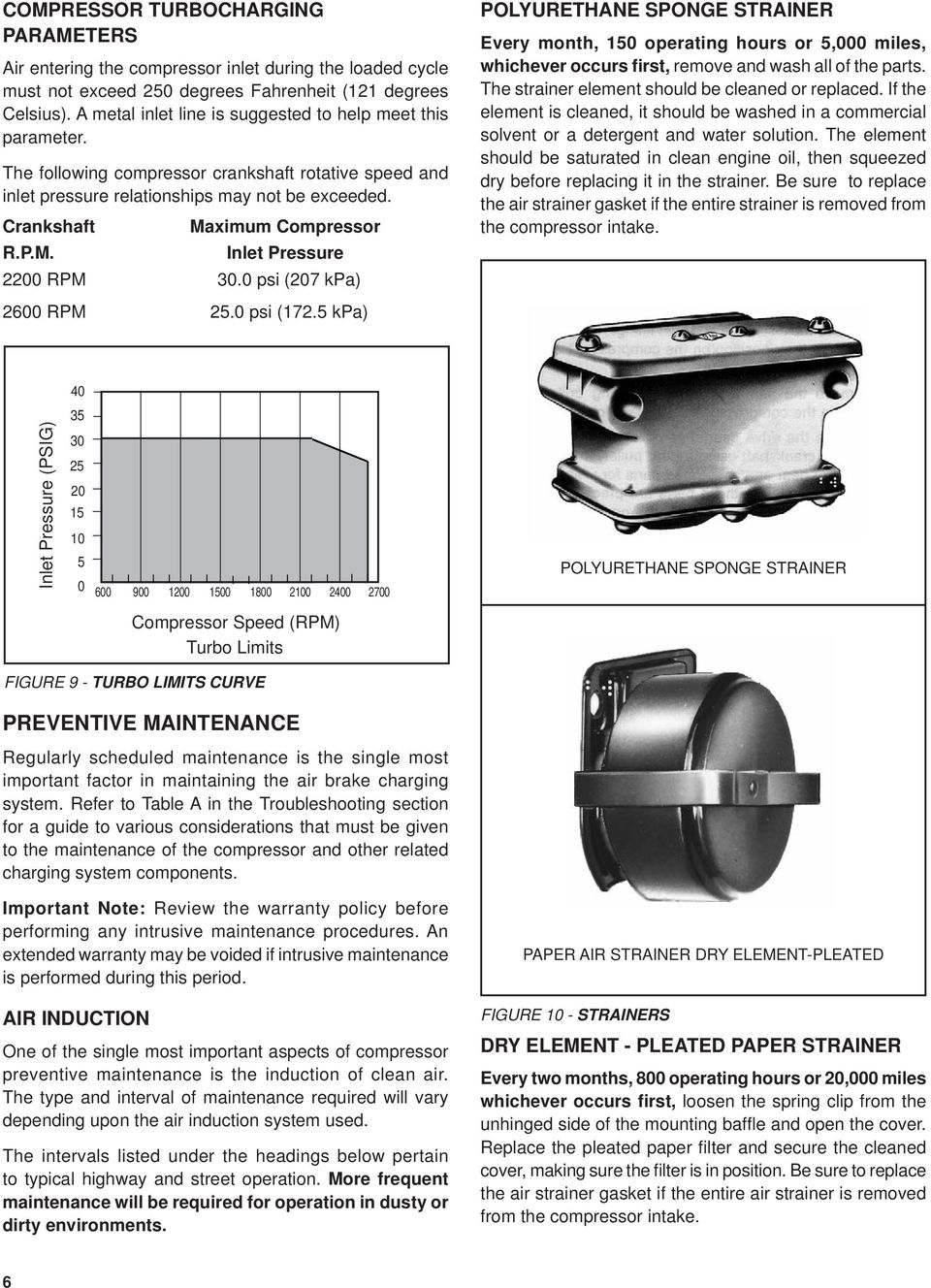 Sd Bendix Tu Flo 550 Air Compressor Description Pdf Open The Bag Of Parts And Make Sure You Have All Listed M Inlet Pressure 2200 Rpm 300 Psi 207 Kpa Polyurethane Sponge Strainer Every