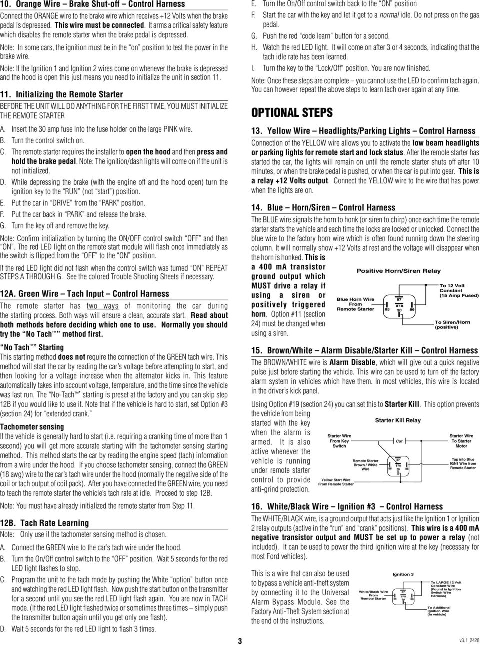 Remote Starter Wiring Harness Control Car Installation Manual For Models 20024 Note If The Ignition 1 And 2 Wires Come On Whenever Brake Is