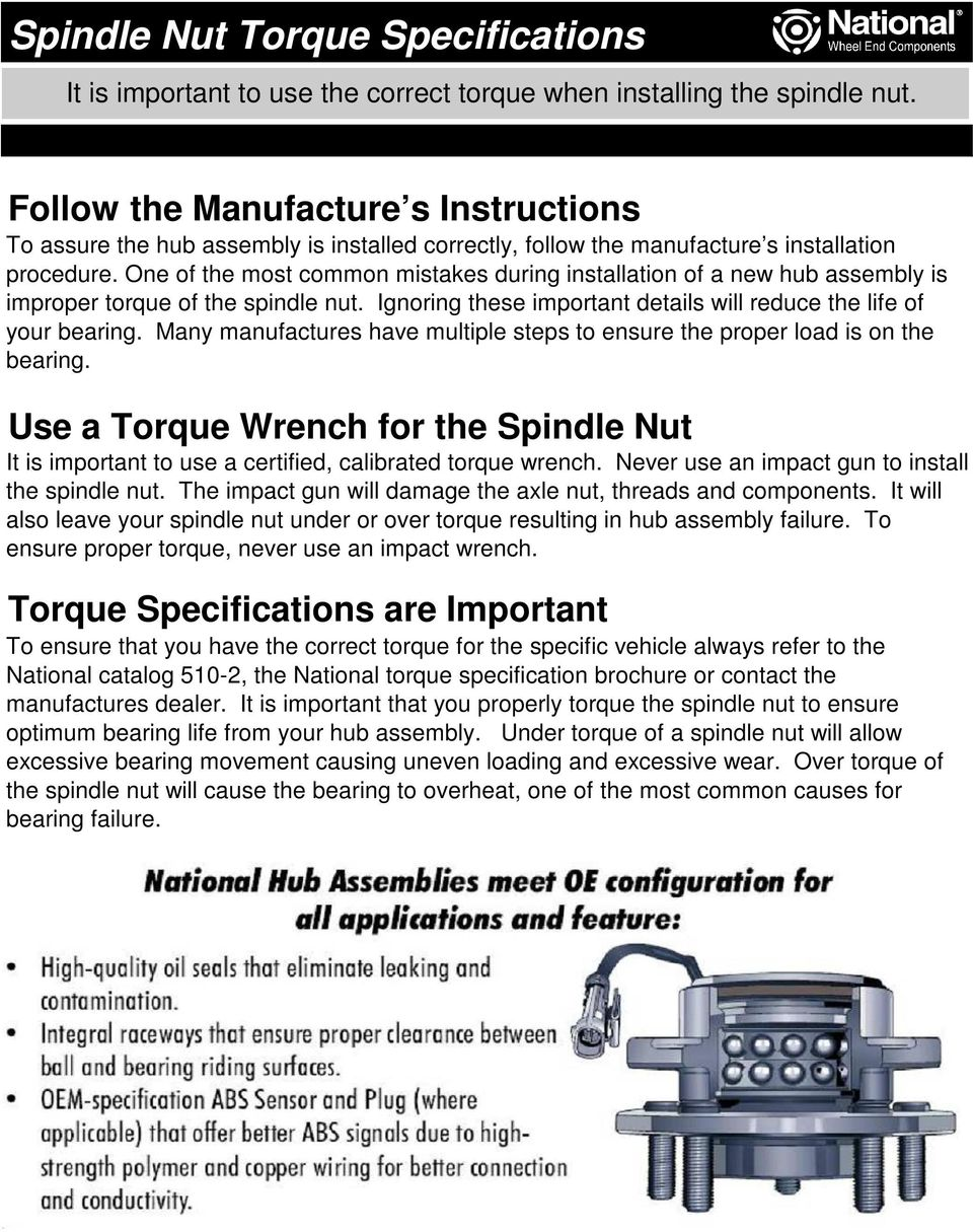 Spindle Nut Torque Specifications - PDF